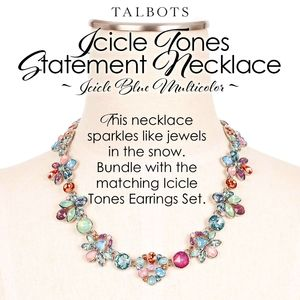 Talbots Icicle Blue Tones Statement Necklace